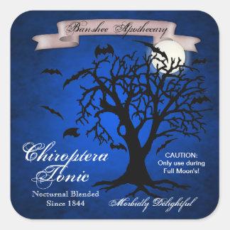 Blue Bat Tonic Halloween Bottle Stickers