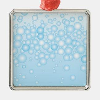 Blue Bath Bubbles Metal Ornament