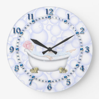 Blue Bathroom Bubbles Large Clock
