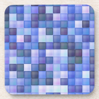Blue Bathroom Tile Squares pattern Coaster