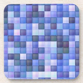 Blue Bathroom Tile Squares pattern Drink Coaster