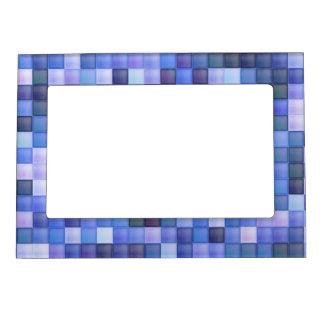 Blue Bathroom Tile Squares pattern Magnetic Picture Frame