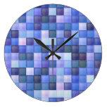 Blue Bathroom Tile Squares pattern Wall Clock