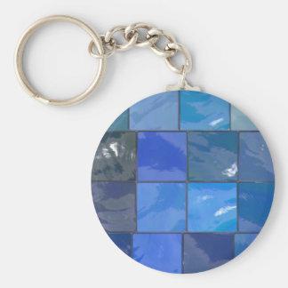 Blue Bathroom Tiles Design Keychain