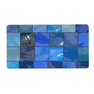 Blue Bathroom Tiles Design Personalized Shipping Label