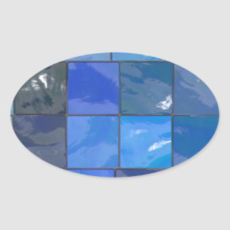 Blue Bathroom Tiles Design Oval Sticker