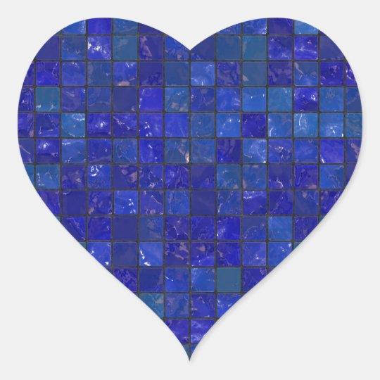 Blue Bathroom Tiles Heart Sticker