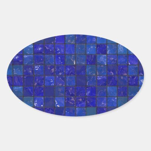 Blue Bathroom Tiles Oval Sticker