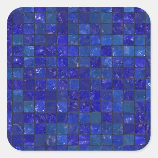 Blue Bathroom Tiles Square Sticker