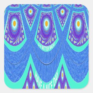 Blue batik square sticker