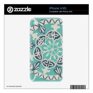 Blue Batik Tile I iPhone 4S Decal