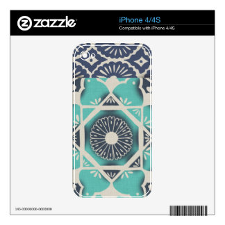 Blue Batik Tile II Decals For The iPhone 4