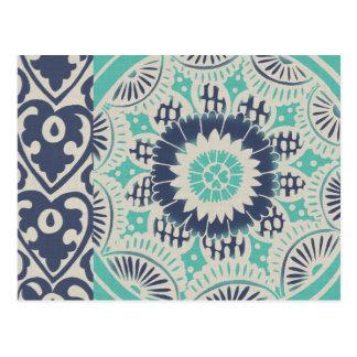 Blue Batik Tile III Postcard