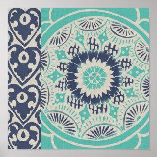 Blue Batik Tile III Poster