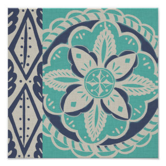 Blue Batik Tile IV Poster