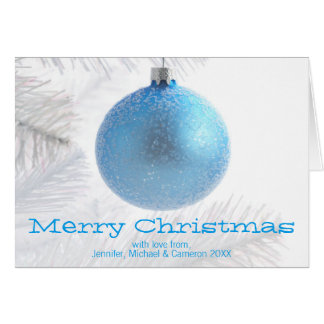 Blue bauble decoration on Christmas tree Greeting Card
