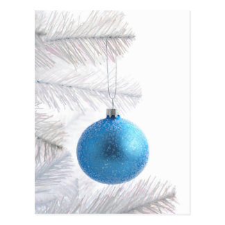 Blue bauble decoration on Christmas tree Postcard