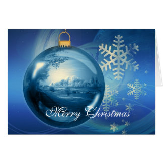 Blue bauble winter scene snowflakes christmas card