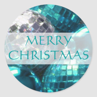 Blue Baubles 'Merry Christmas' sticker