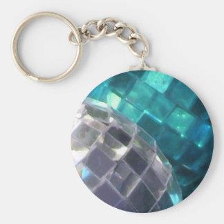 Blue Baubles mirror ball keychain