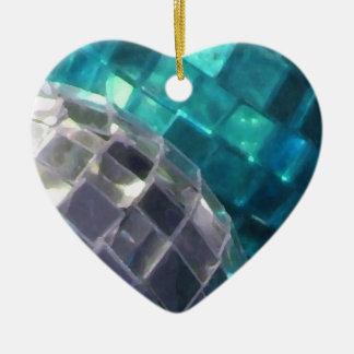 Blue Baubles mirror ball ornament heart