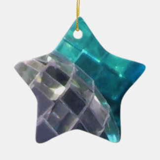 Blue Baubles mirror ball star ornament