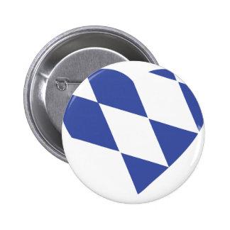 blue bavarian heart icon pinback button