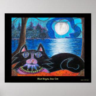 Blue Bayou Jazz Cat Posters
