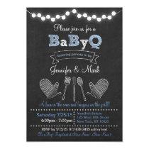 Blue BBQ Baby Shower Invitations