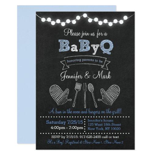 Blue BBQ Chalkboard Baby Shower Card