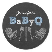 Blue BBQ Chalkboard Baby Shower Classic Round Sticker