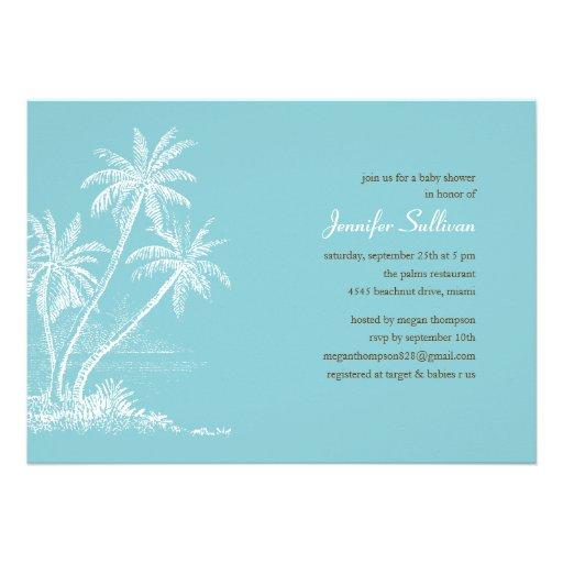 Blue Beach Baby Shower Invitations