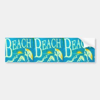 blue beach bumpersticker car bumper sticker