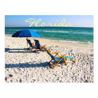 Blue beach chairs in florida post cards