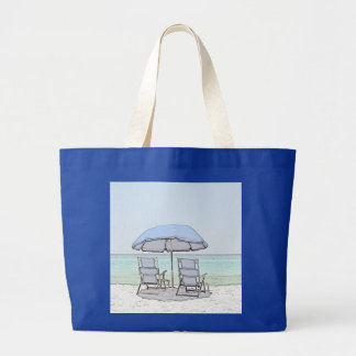 Blue Beach Chairs Large Tote Bag