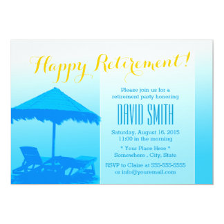 Blue Beach Chairs Retirement Party Invitations