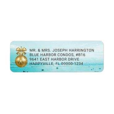 Beach Themed Blue Beach Christmas Return Address Labels