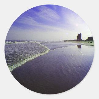 Blue Beach Classic Round Sticker