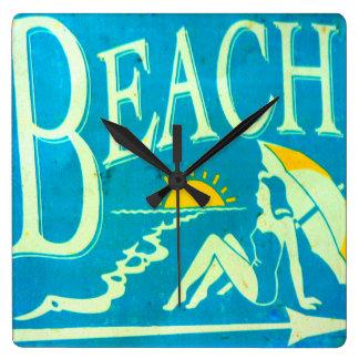 blue beach clock