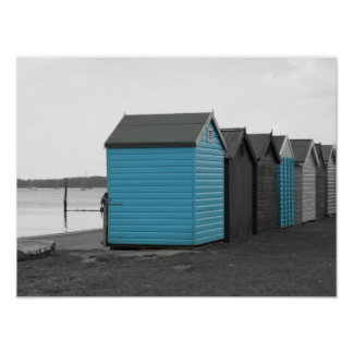 Blue beach huts along the seaside! poster