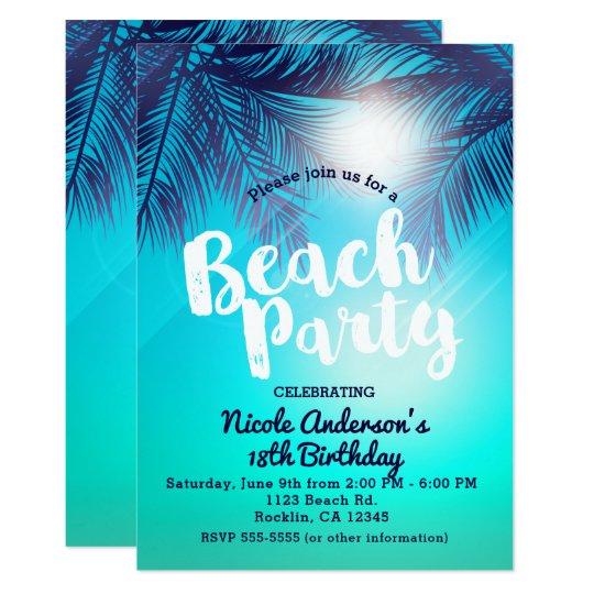 Blue Beach Party Sunny Palm Trees Summer Birthday Invitation