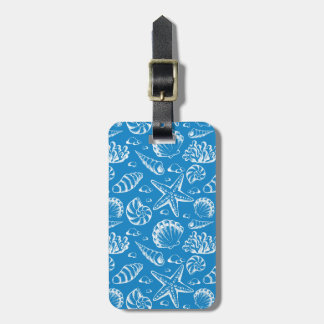 Blue Beach Pattern Luggage Tag