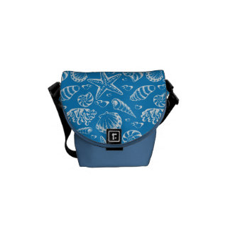 Blue Beach Pattern Messenger Bag