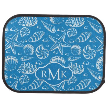 Beach Themed Blue Beach Pattern | Monogram Car Mat