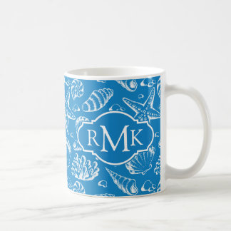 Blue Beach Pattern | Monogram Coffee Mug