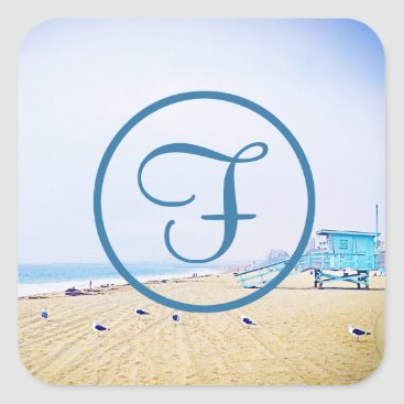 Beach Themed Blue beach photo custom monogram square sticker