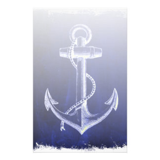 blue beach rustic shabby chic nautical anchor stationery
