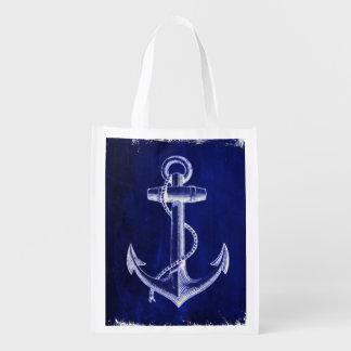 blue beach rustic shabby chic nautical anchor grocery bag
