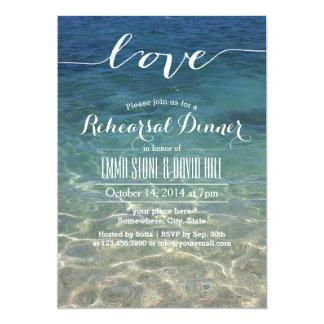 Blue Beach Sea Water Script Love Rehearsal Dinner Card