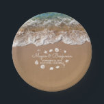 "Blue Beach Sea waves and Ocean Treasures Wedding Paper Plate<br><div class=""desc"">Beach wedding paper plates with sand dollars,  starfish,  sea pearls ...  Please use the &#39;customize&#39; button to edit the font style or move sea treasures.</div>"